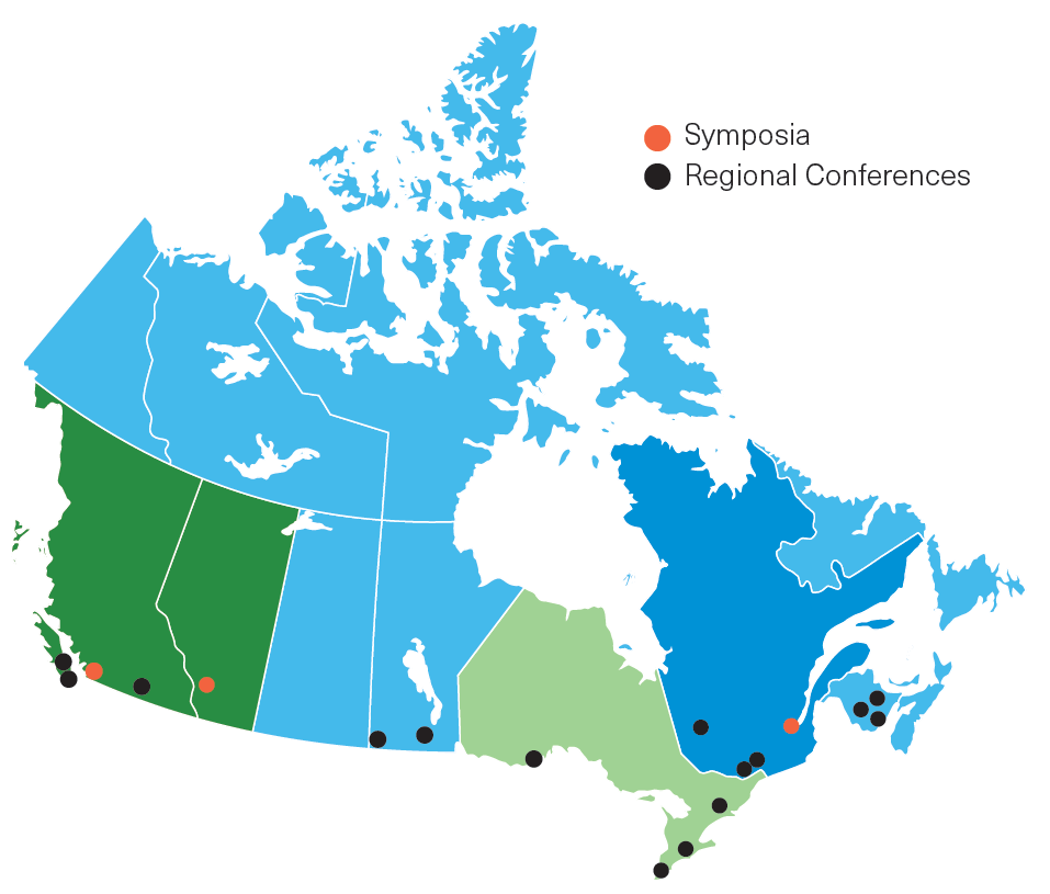 CMPA symposia were held in Vancouver, Calgary and Québec City. Three CMPA regional conferences were held in the British Columbia/Alberta region, four in the Ontario region, three in the Québec region and five in the Saskatchewan, Manitoba, Atlantic and Territories region.