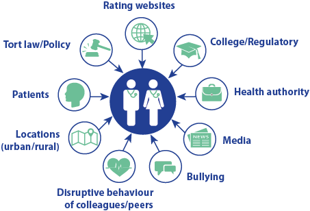 Insights included rating websites, College/regulatory, health authority, media, bullying, disruptive behaviour of colleagues/peers, locations (urban/rural), patients and tort law/policy.